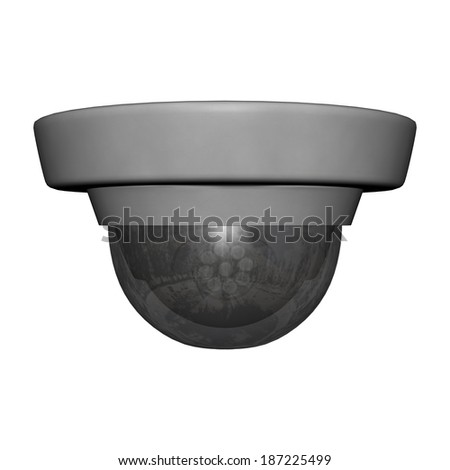 3D digital render of a security dome camera isolated on white background