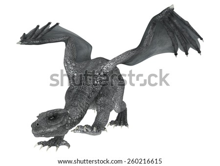 3D digital render of a silver fantasy dragon isolated on white background - stock photo
