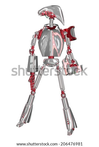 3D digital render of a standing droid isolated on white background - stock photo