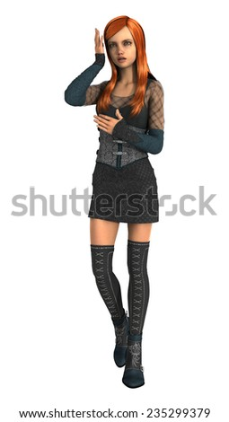 3D digital render of a teenager girl holding her hand to her head isolated on white background - stock photo