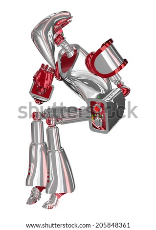 3D digital render of a thinking droid isolated on white background - stock photo