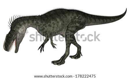 3D digital render of a walking dinosaur Monolophosaurus isolated on white background