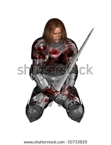 3D digital render of a wounded knight in bloodstained armour resting from battle - stock photo
