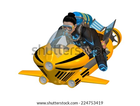 3D digital render of a young female diver diving on an underwater scooter isolated on white background - stock photo