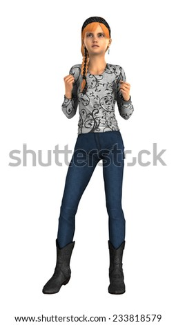 3D digital render of an angry teenager girl isolated on white background - stock photo