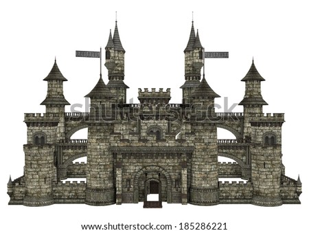 3D digital render of an old fairy tale castle isolated on white background - stock photo