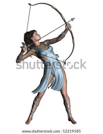3D digital render of Diana the Ancient Roman Goddess of the hunt, or Artemis in Greek classical mythology