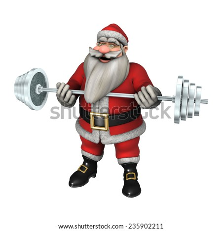 3D digital render of Santa exercising with weights isolated on white background