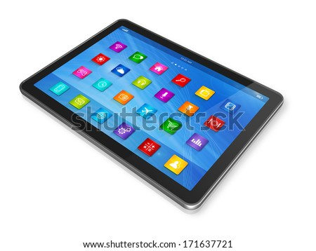 3D Digital Tablet Computer - apps icons interface - isolated on white with clipping path