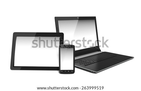 3D. Digital Tablet, Laptop, Computer. - stock photo