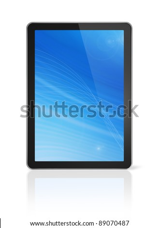 3D digital tablet pc, computer screen isolated on white. With 2 clipping paths : global scene clipping path and screen clipping path