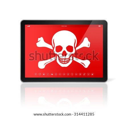 3D digital tablet PC with a pirate symbol on screen. Hacking concept - stock photo