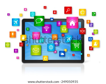 3D Digital Tablet pc with flying apps icons - isolated on white - stock photo