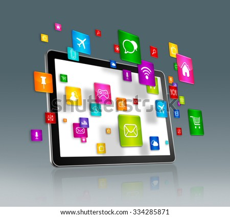 3D Digital Tablet with flying apps icons - isolated on grey - stock photo