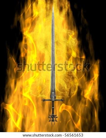 3d Digitally rendered illustration of a fantasy or Medieval sword surrounded by yellow flames on a black background