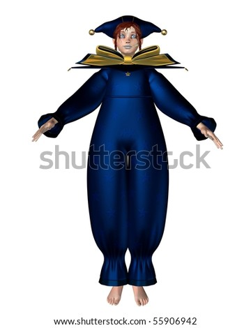 3d Digitally rendered illustration of a Pierrot- style clown doll dressed in a blue suit with stars - stock photo