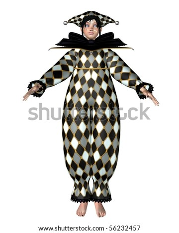 3d Digitally rendered illustration of a Pierrot-style clown doll dressed in a diamond pattern Harlequin suit with bow - stock photo