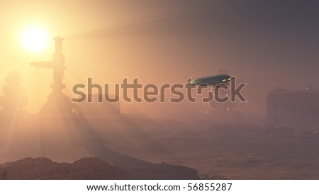 3d Digitally rendered illustration of a space shuttle landing in a duststorm at a Martian outpost - stock photo