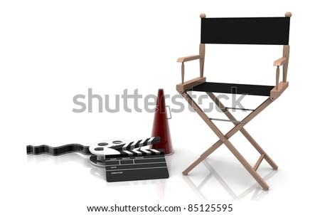 3D Directors chair and film reel - stock photo