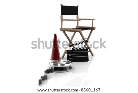3D Directors chair on a white background - stock photo