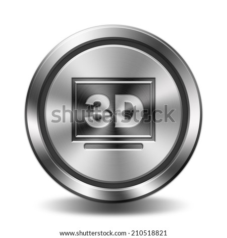 3d display icon. Circular button with metal texture. - stock photo