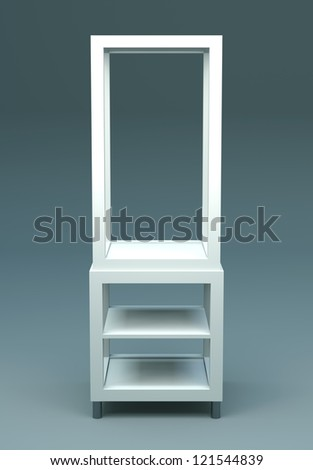 3D Display shelves and shelf on background - stock photo