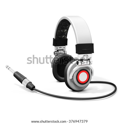 3d DJ headphones with audio jack on white background