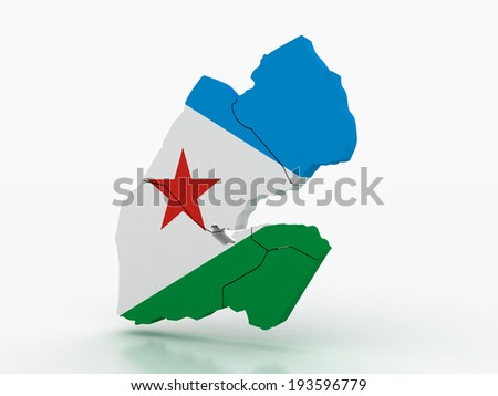 3d Djibouti administrative map with flag