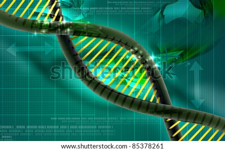 3d Dna in abstract background - stock photo