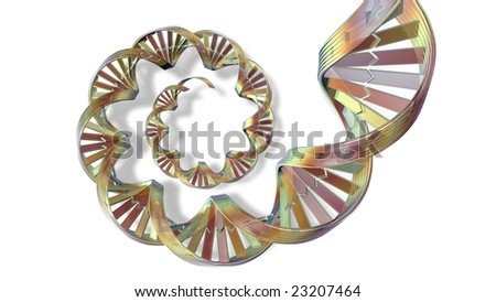 3d DNA spiral strand silhouetted on white background with soft shadow - stock photo