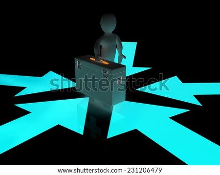 3d doctor and arrows on a black background - stock photo