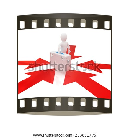 3d doctor and arrows on a white background. The film strip - stock photo