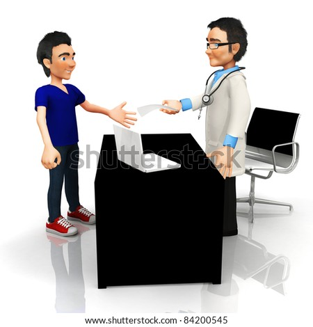 3D doctor at his office handling a prescription - isolated - stock photo