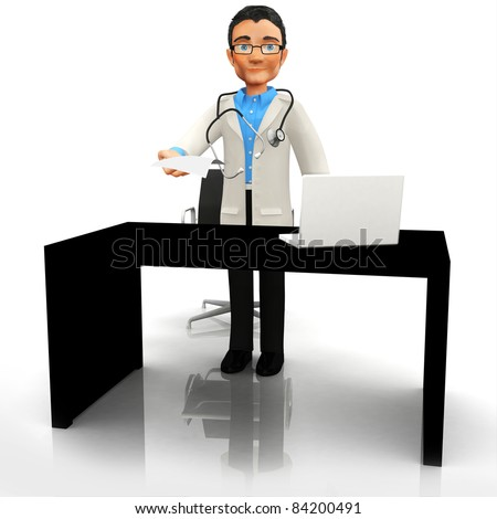 3D doctor at his office - isolated over a white background - stock photo