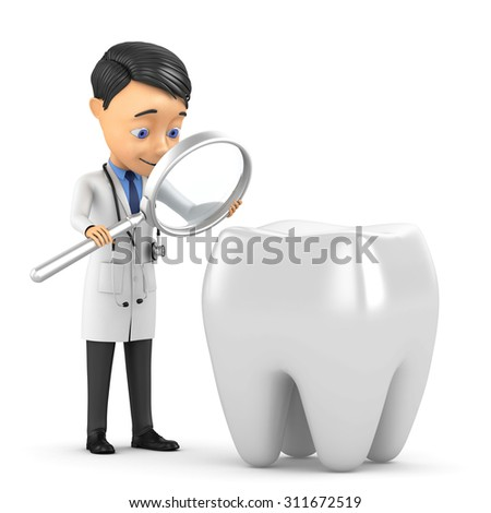3d doctor examines a tooth - stock photo