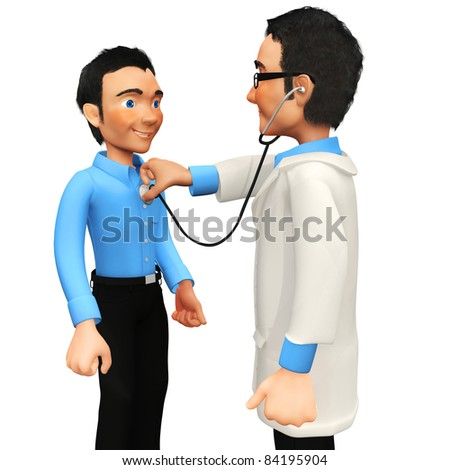 3D doctor examining a patient with a stethoscope - isolated over a white background - stock photo