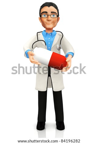 3D doctor holding a pill - isolated over a white background - stock photo