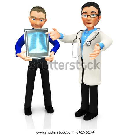 3D doctor looking at an x-ray of a patient - isolated over a white background - stock photo