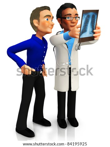 3D doctor looking at an x-ray with a patient - isolated over a white background - stock photo