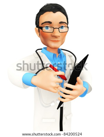 3D doctor taking notes on a clipboard - isolated over a white background - stock photo