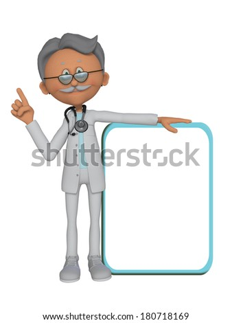 3d Doctor with a blank board