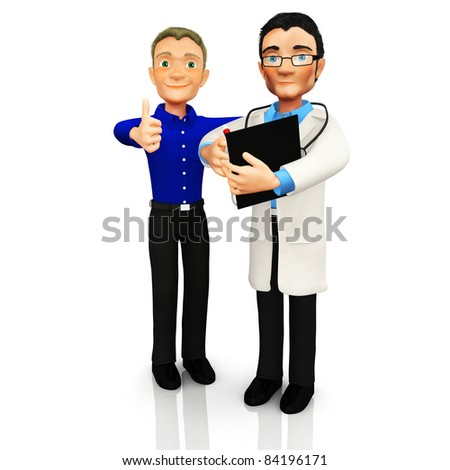 3D Doctor with a patient smiling ? isolated over a white background - stock photo