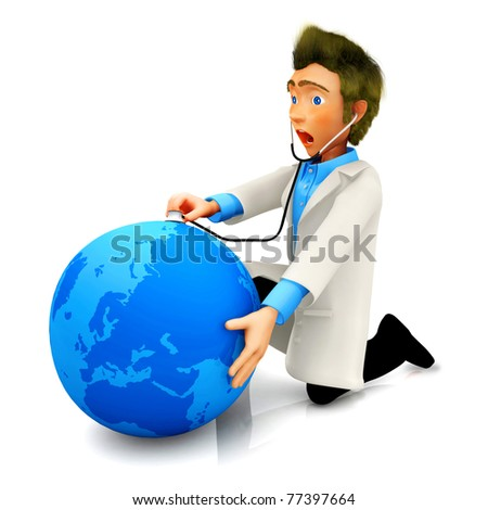 3D doctor with a stethoscope examining the Earth - isolated over a white background - stock photo