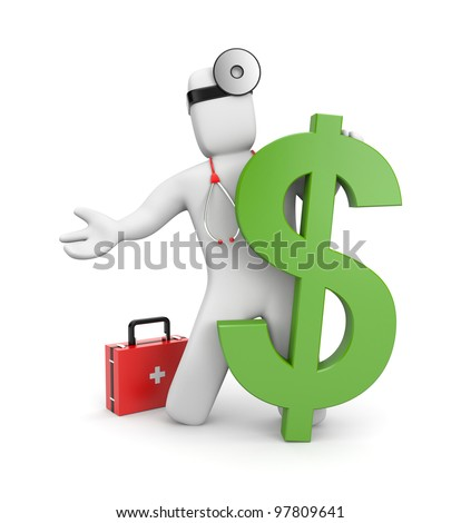 3d doctor with firstaid and dollar - stock photo