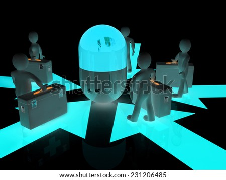 3d doctors around tablet on a black background - stock photo