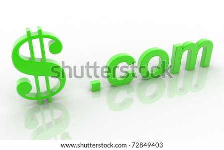 3d dollar dot com on a white background - stock photo