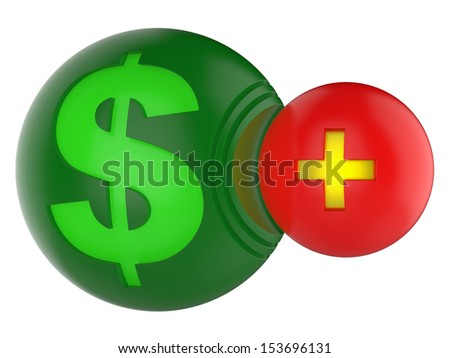 3d dollar icon and plus icon. Abstract concept. - stock photo
