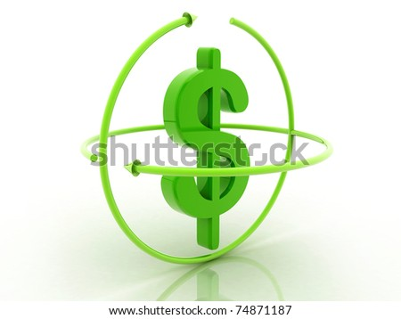 3D dollar in white background - stock photo
