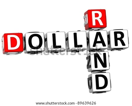 3D Dollar Rand Crossword on white background - stock photo