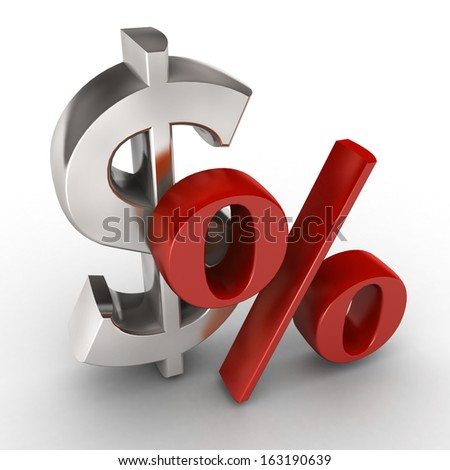 3d dollar sign and percent. The dollar currency. - stock photo